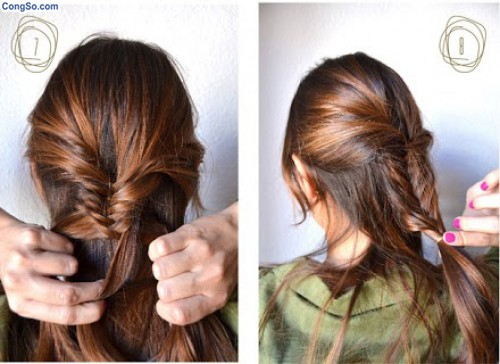 Cách thắt bím tóc đuôi cá